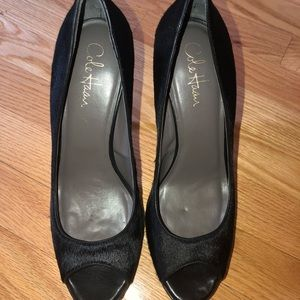 Cole Haan Black calf hair open toe pumps size 10